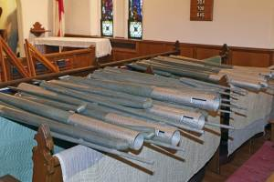 Organ pipes, after removal from the loft. Photo by Gary A. Becker.