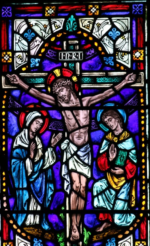 crucifixion - stained glass from chapel