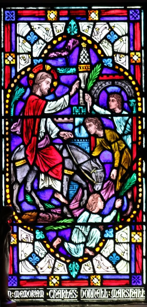 palm sunday entrance into jerusalem - stained glass from chapel