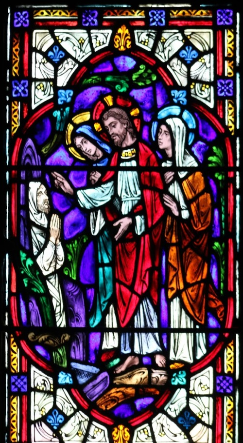 raising of lazarus - stained glass from chapel
