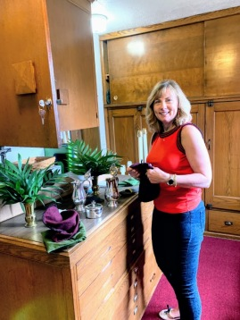 Sheri at work in the Sacristy